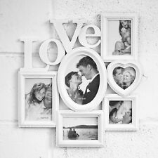 Wall Mounted White Love Multi Picture Frame 6 Photograph Wedding Family Photo