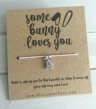 Some Bunny Loves You Rabbit with Carrot Message Card Tie On Wish Bracelet Gift
