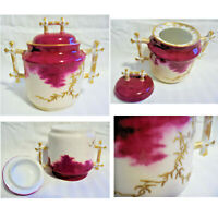 Porcelain Fuchsia Sugar Bowl / Dish & Lid Moriage Gold Trim Bamboo Handles Knob