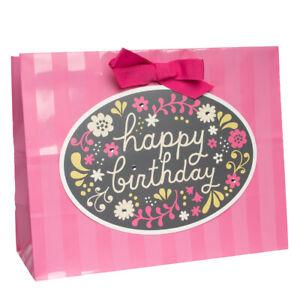 "Hallmark 13"" Horizontal Gift Bag Happy Birthday With Floral Pattern & Gemstones"