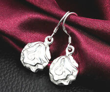 925 Sterling silver Plated Women Fashion jewelry Style Exquisite Rose Earrings