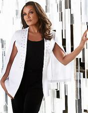 Vanessa Williams Ponte Knit Stud Embellish Hook Cape Jacket Suit White XL EVINE