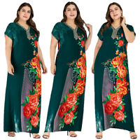 Plus Size Muslim Women Printed Summer Abaya Long Maxi Dress Islamic Kaftan Gowns