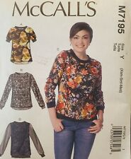 McCall's pattern M7195 Misses Loose-fitting Pullover Tops sz XSM, SML, MED uncut