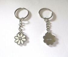 New Coach Enamel White & Silver Colour Daisy Flower Handbag / Bag / Purse Charm