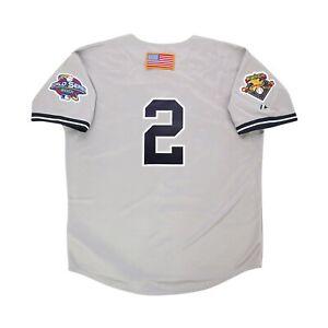 Derek Jeter 2001 New York Yankees Grey World Series Road Jersey Men's Medium