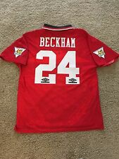 MANCHESTER UNITED HOME SHIRT 1994/96 ADULTS LARGE (L) BECKHAM 24 VINTAGE UMBRO