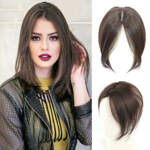 Women's 100% Real Human Hair Topper Toupee Clip Hairpiece Bangs Bob Top Wigs
