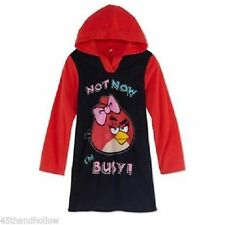 NWT SZ 10 GIRL'S HOODED FLEECE ANGRY BIRDS BLACK/RED SOFT PAJAMA GOWN ADORABLE!!