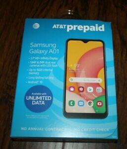 "Brand NEW AT&T Samsung Galaxy A01 5.7"" HD+ Infinity Display 13MP  Prepaid Phone"