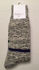 PAUL SMITH Contrast Striped Marled Boot MENS SOCKS NWT Black Brand New