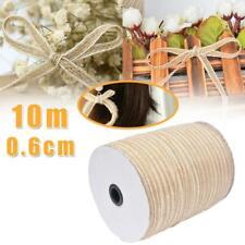 10m Trims Tape Rustic Wedding Party Natural Lace Jute Burlap Hessian Ribbon Edge