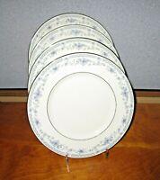 Minton Bellemeade Dinner Plates Lot of 4 Blue Floral Platinum Trim Excellent!