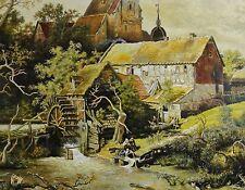 P.Trapp-? Kopie Gemälde: ERFTMÜHLE (WASSERMÜHLE BEI HAMBURG) nach A. Achenbach