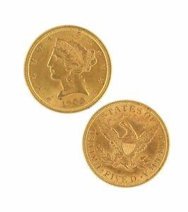 $5 Half Eagle Liberty Head CU Raw Gold (Random Year)