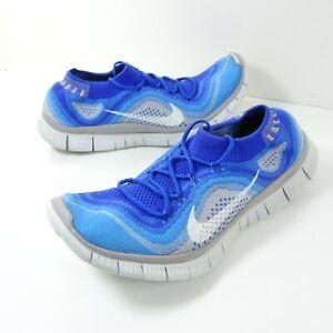 Nike Free 5.0 Flyknit Running Shoes Men's Sz 10.5 Sneakers 615805-414 Blue White