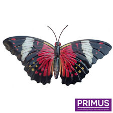 Primus Hand Finished Large Red Metal Butterfly Garden Wall Art Ornament