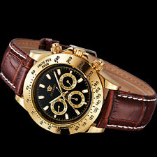 Black Face OUYAWEI Mens Day Date Mechanical Automatic Genuine Leather Band Watch