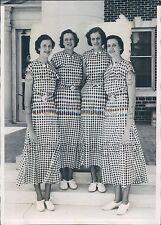 1933 Keys Quadruplets of Oklahoma in Matching Gingham Dresses Press Photo
