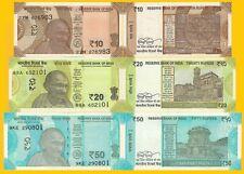 India Set 10 ,20,50  Rupees 2018-2019 UNC Banknotes