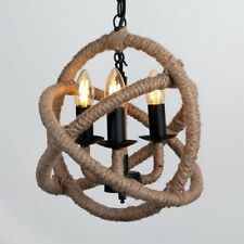 Stunning Rustic Rope 3 Light Ceiling Fitting Chandelier NEW