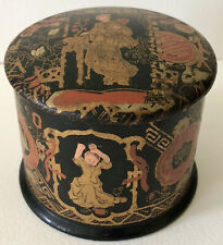 Antique Asian Chinese Japanese Black Lacquer Gold Geisha Girl Vanity Trinket Box