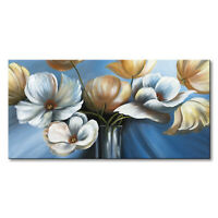 Handmade Abstract Flower Painting Wall Art Framed Floral Canvas Artwork Decor