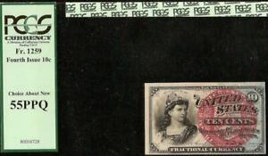 10 CENT FRACTIONAL CURRENCY NOTE 1869-1875 PAPER MONEY Fr 1259 PCGS 55 PPQ
