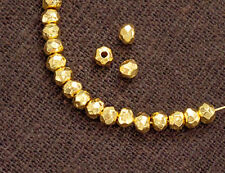 Karen hill tribe 24K Gold  Vermeil Style  20 Facet Rondelle Beads 3.5x2 mm.
