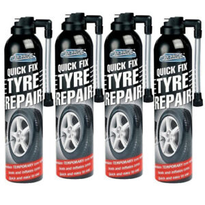 4 X QUICK FIX CAR EMERGENCY FLAT TYRE INFLATE PUNCTURE REPAIR KIT 300ml