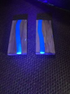 """MAKE YOUR KNIVES STAND OUT! Glowing UV """"Blue River"""" STABILIZED Knife Scales 5x2"""