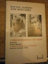 Litoral R. Alberti Bergamin Correspondencia en verso Caractères N°109/111