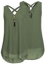 Sexy Womens Summer Chiffon Sleeveless Vest Shirt Blouse Ladies Top Size 6-22