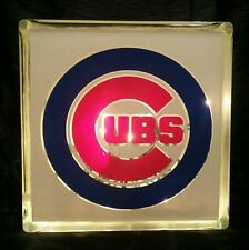 Lighted Chicago  Cubs  Glass Block Light~ Home Decor~Gift~Lamp