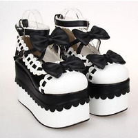 Womens Lolita Bowknot High Platform Double Ankle Strap Mary Jane Shoes Bowtie SZ
