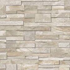 Grandeco Wallpaper - Realistic Stone / Brick Wall Effect - Sand Stone - A17203