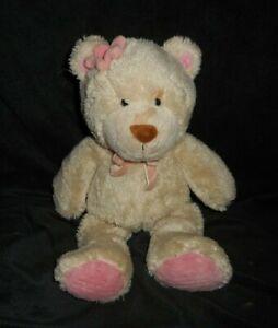 "12"" CARTER'S BROWN & PINK TEDDY BEAR W/ FLOWER STUFFED ANIMAL PLUSH TOY # 38484"