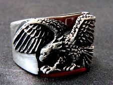 Eagle Turkish Solid 925 Sterling Silver Men's Ring Red Agate Gemstone