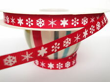 9mm Snowflakes Grosgrain Ribbon in 2 Colours, 2 Metre Length