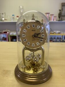 Vintage Hermle Glass Dome Plastic Clock. Made In Germany. Mantle, Desk Piece