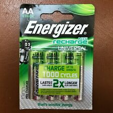 4 x Energizer AA Rechargeable Universal Batteries 1300 mAh Pre Charged NiMH LR6
