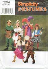 Simplicity 7294 CHILD Pirate Gypsy Hunchback Jester Costume Pattern UNCUT NEW
