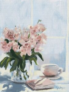 """ACEO ATC Artist Trading Cards Fine Art Print + Multiple Sizes """"Tea Time"""" Floral"""