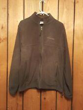 Mens Size M Columbia Long Sleeve Khaki Green Full Zip Cinch Waist Fleece Jacket