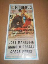 Original Vintage 1989  Figueres Spain Plaza de Toros,Bullfight Poster / Flyer .