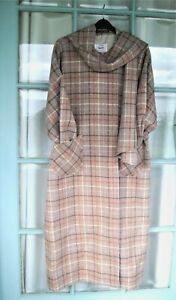 AVOCA New Full length Tweed Cape Coat with scarf SZ XL Fawn tweed pale check NEW