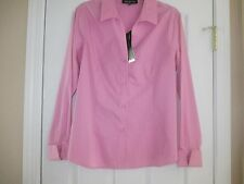 NWT JONES NEW YORK EASY CARE  SIZE 12 PINK STRIPE DOUBLE CUFF TOP RETAILS $74.