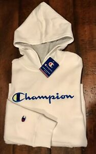 Champion  Boy's Hoodie Youth L  Large  White NWT New Sweatshirt