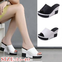 Fashion Women High-Heeled Platform Slippers Thick Bottom Sandals Wedge Shoes SH