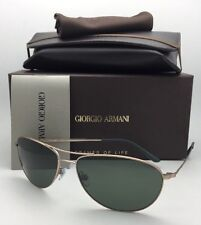 Giorgio Armani Sunglasses AR 6024 3004/31 Matte Gold Aviator Frame W/ Green